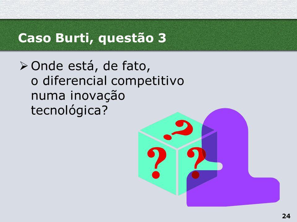 Caso Burti, questão 3 Onde está, de fato, o diferencial competitivo numa inovação tecnológica