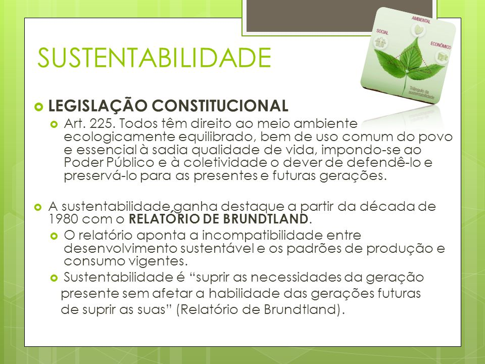 SUSTENTABILIDADE LEGISLAÇÃO CONSTITUCIONAL