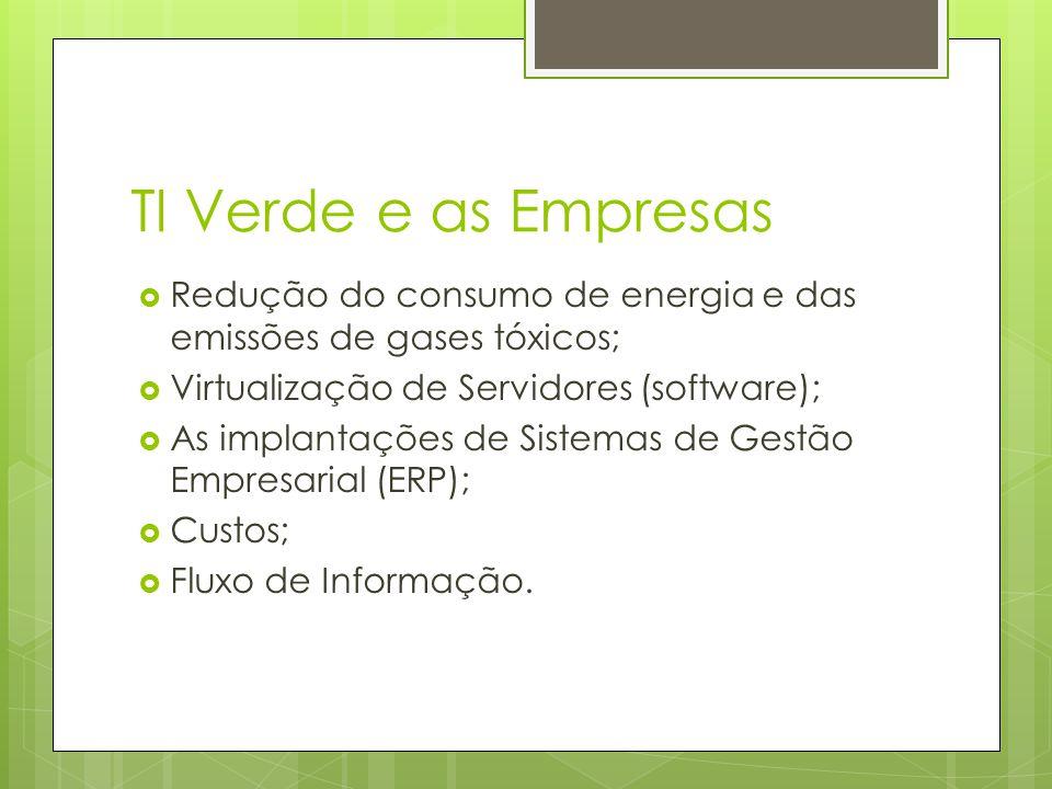 TI Verde e as Empresas Redução do consumo de energia e das emissões de gases tóxicos; Virtualização de Servidores (software);