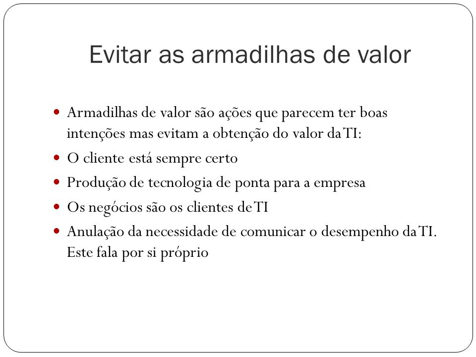 Evitar as armadilhas de valor