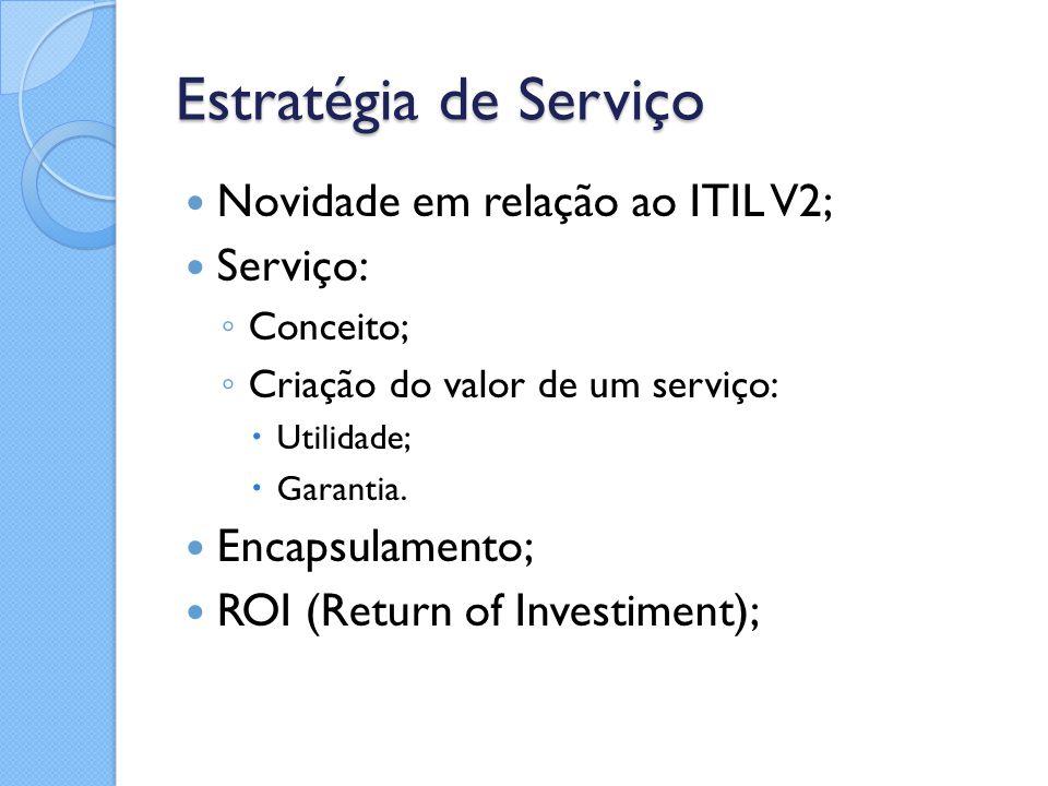 Estratégia de Serviço Novidade em relação ao ITIL V2; Serviço: