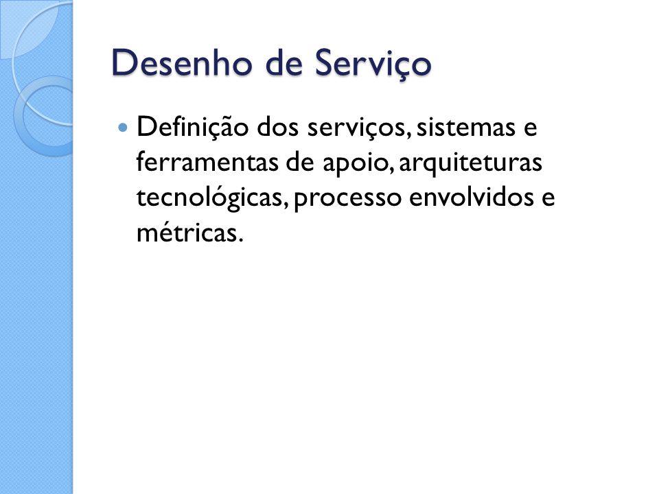 Desenho de Serviço Definição dos serviços, sistemas e ferramentas de apoio, arquiteturas tecnológicas, processo envolvidos e métricas.