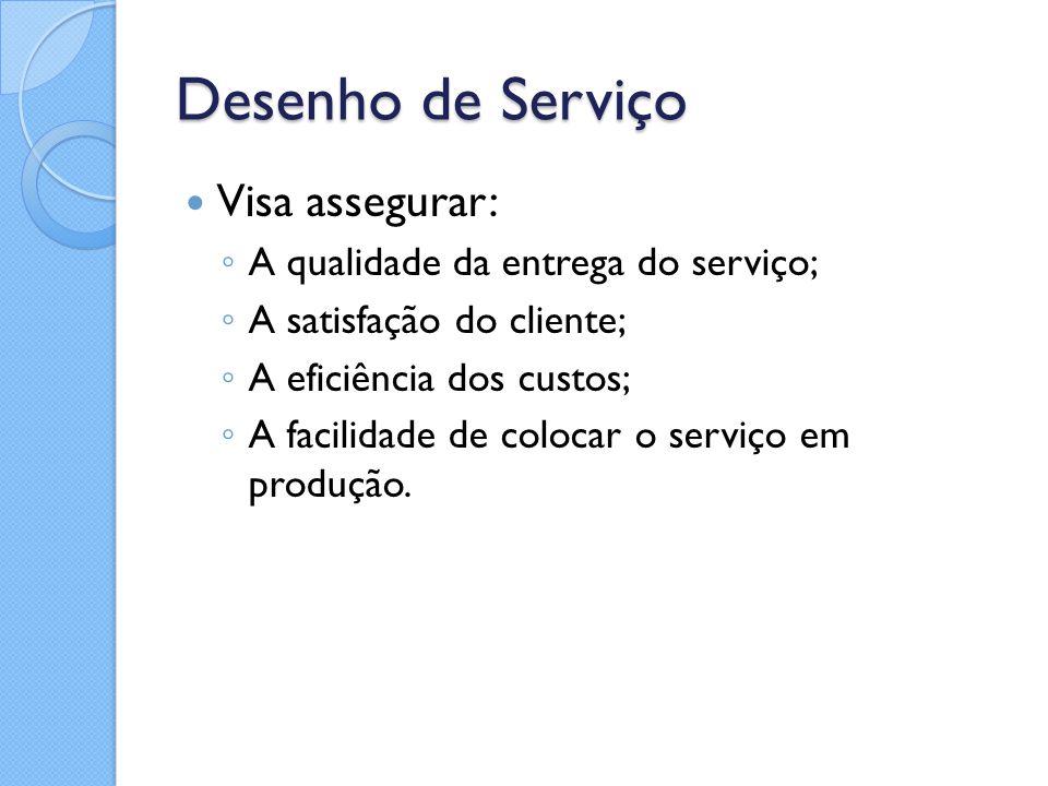 Desenho de Serviço Visa assegurar: A qualidade da entrega do serviço;