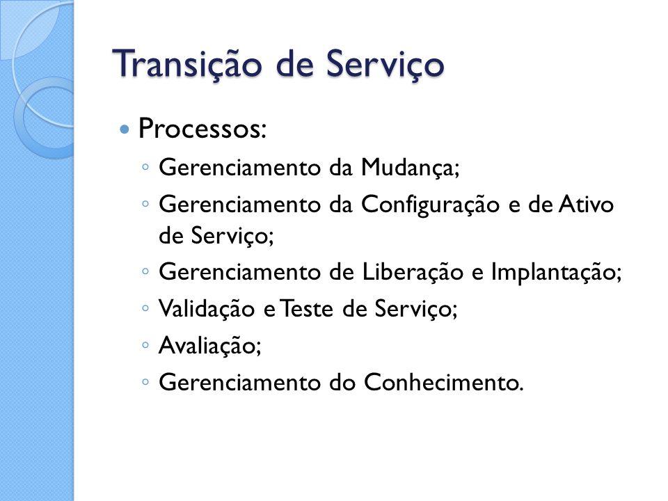 Transição de Serviço Processos: Gerenciamento da Mudança;