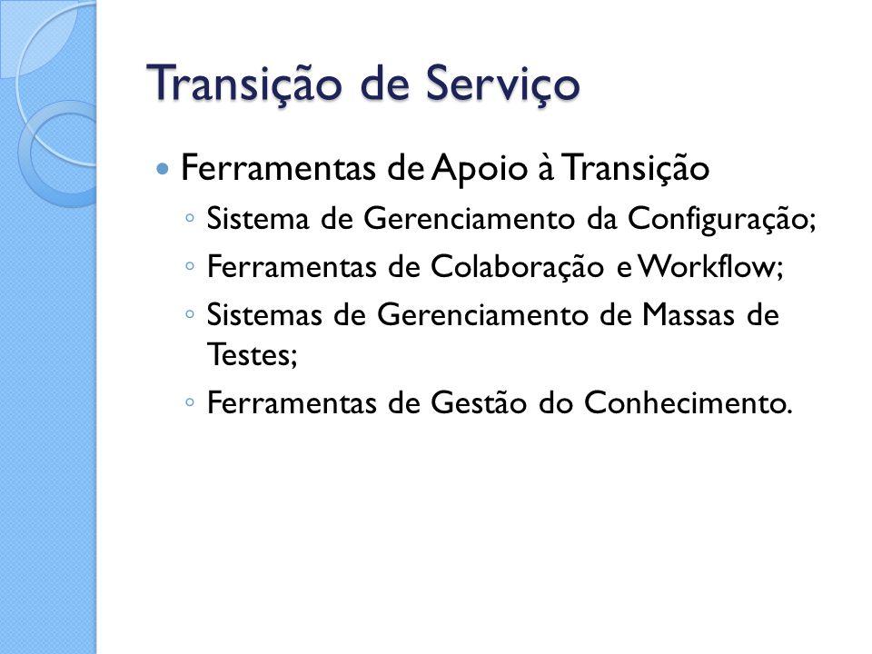 Transição de Serviço Ferramentas de Apoio à Transição