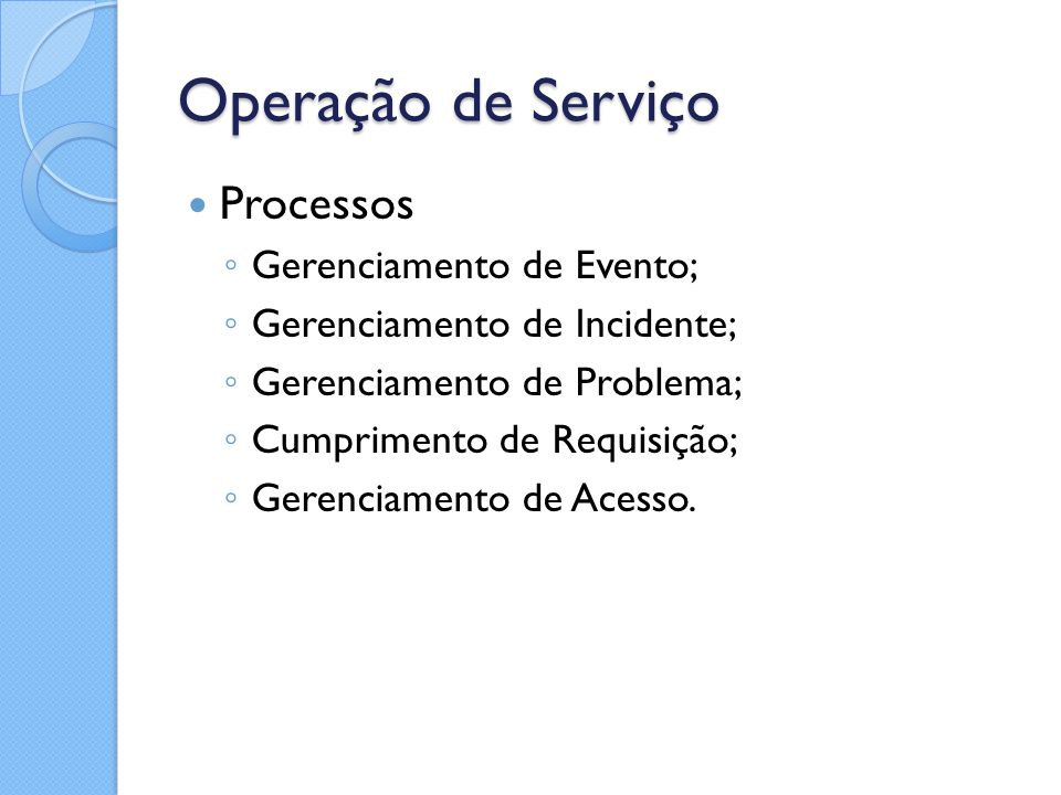 Operação de Serviço Processos Gerenciamento de Evento;