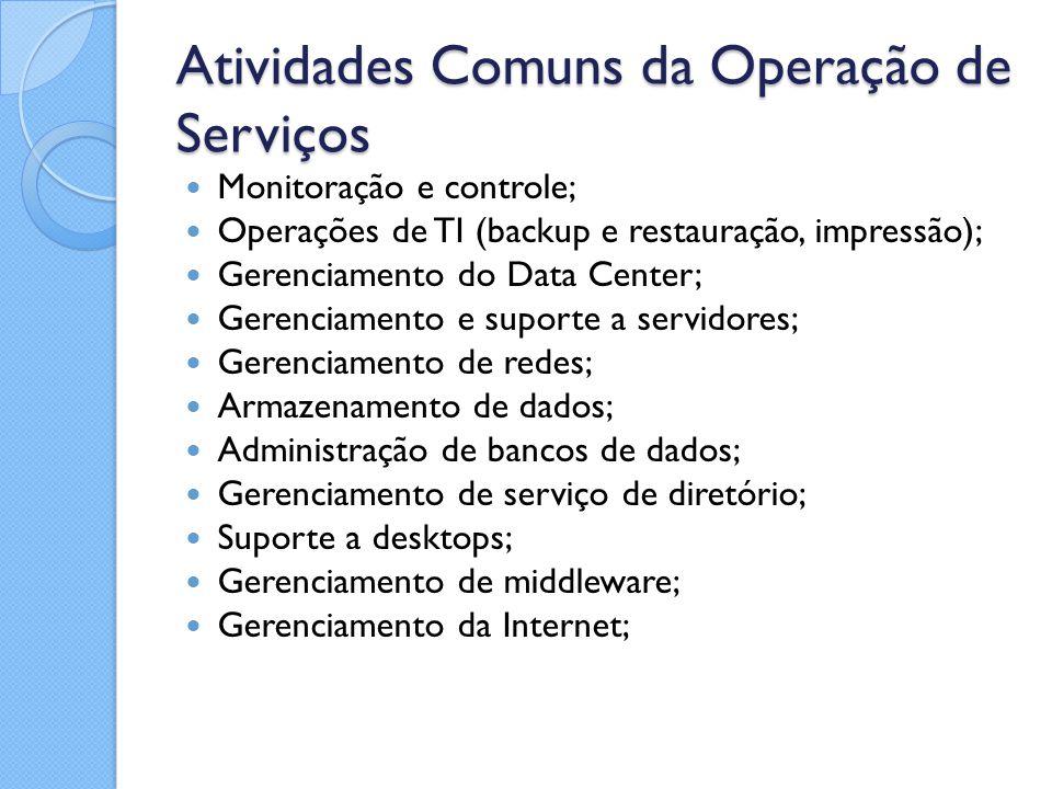 Atividades Comuns da Operação de Serviços