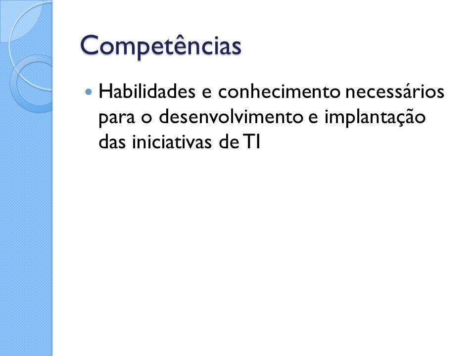 Competências Habilidades e conhecimento necessários para o desenvolvimento e implantação das iniciativas de TI.