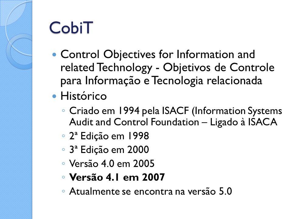 CobiT Control Objectives for Information and related Technology - Objetivos de Controle para Informação e Tecnologia relacionada.