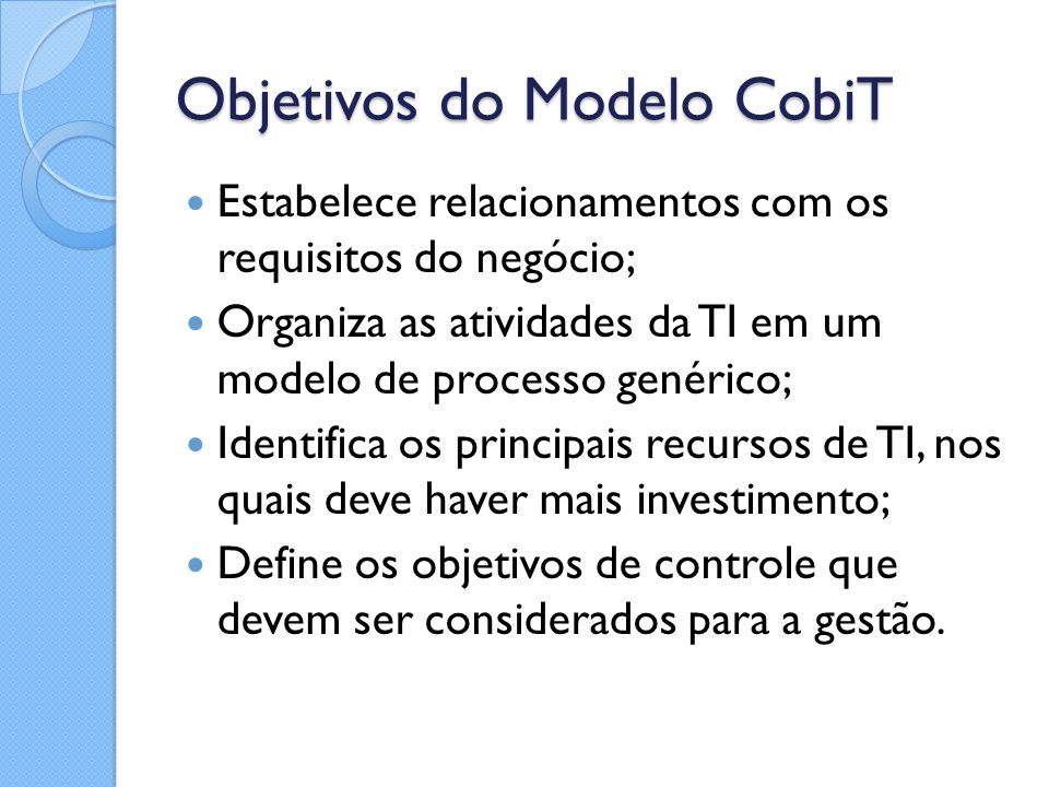 Objetivos do Modelo CobiT