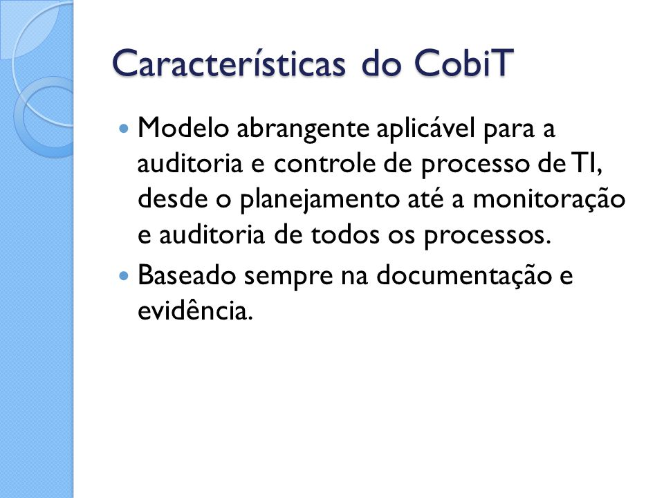 Características do CobiT