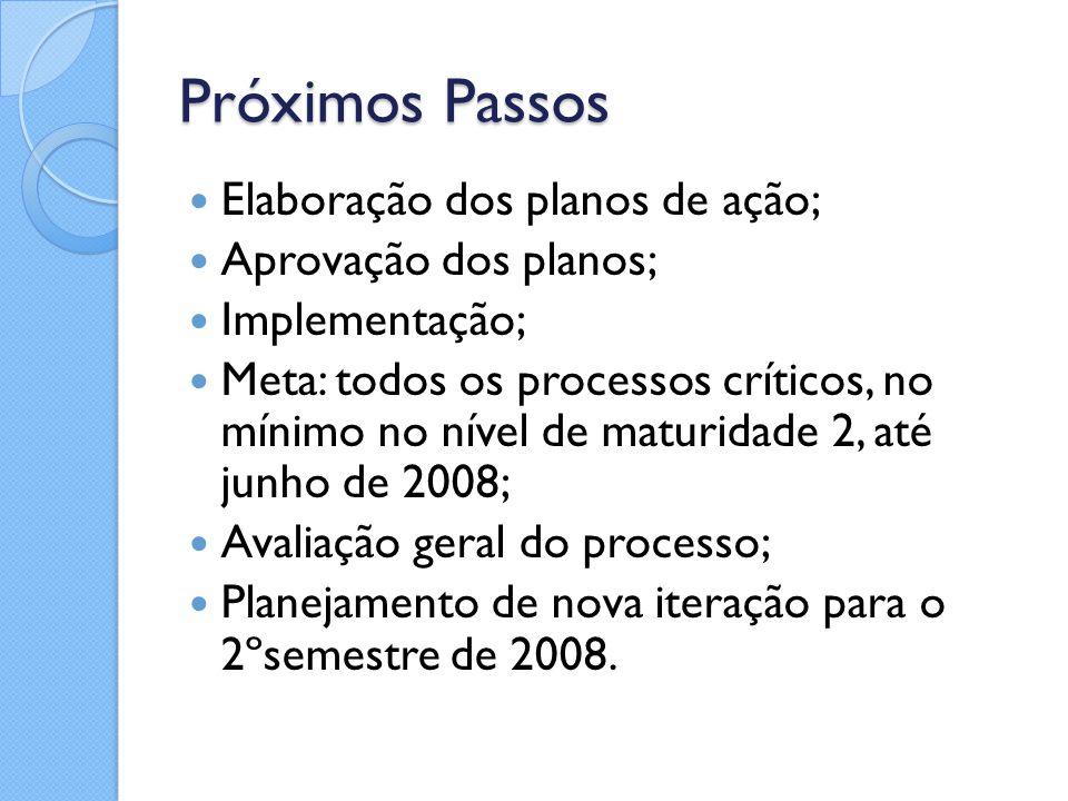 Próximos Passos Elaboração dos planos de ação; Aprovação dos planos;