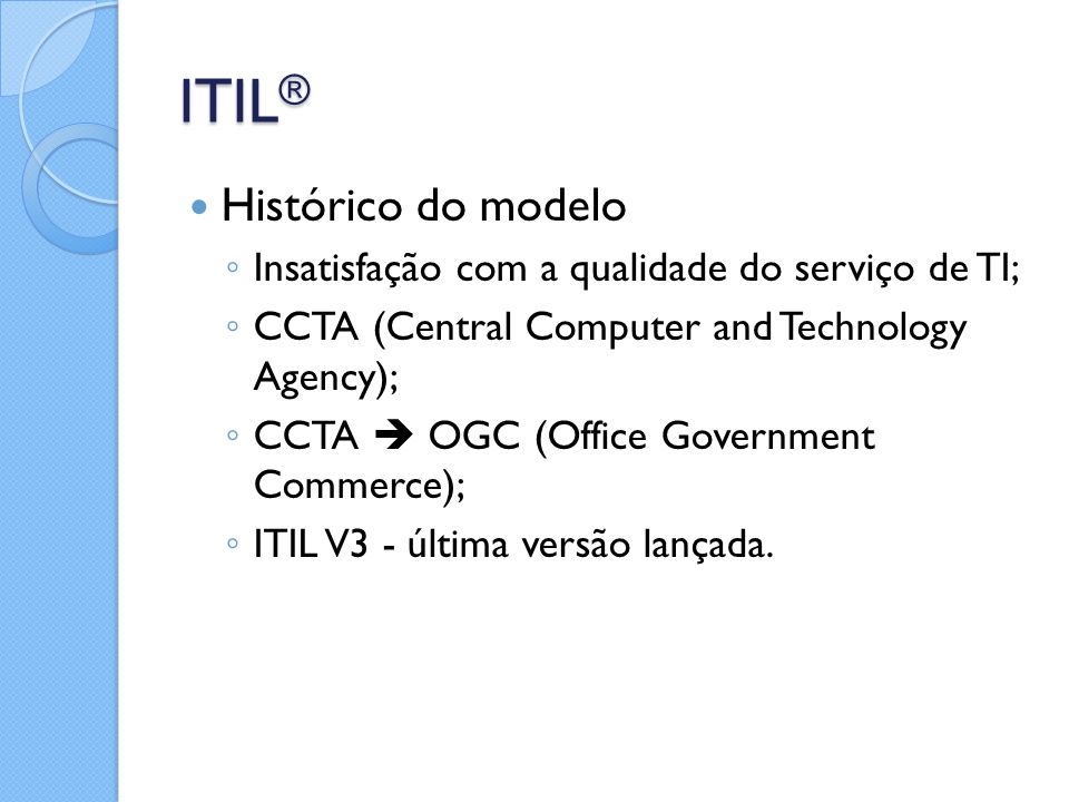 ITIL® Histórico do modelo