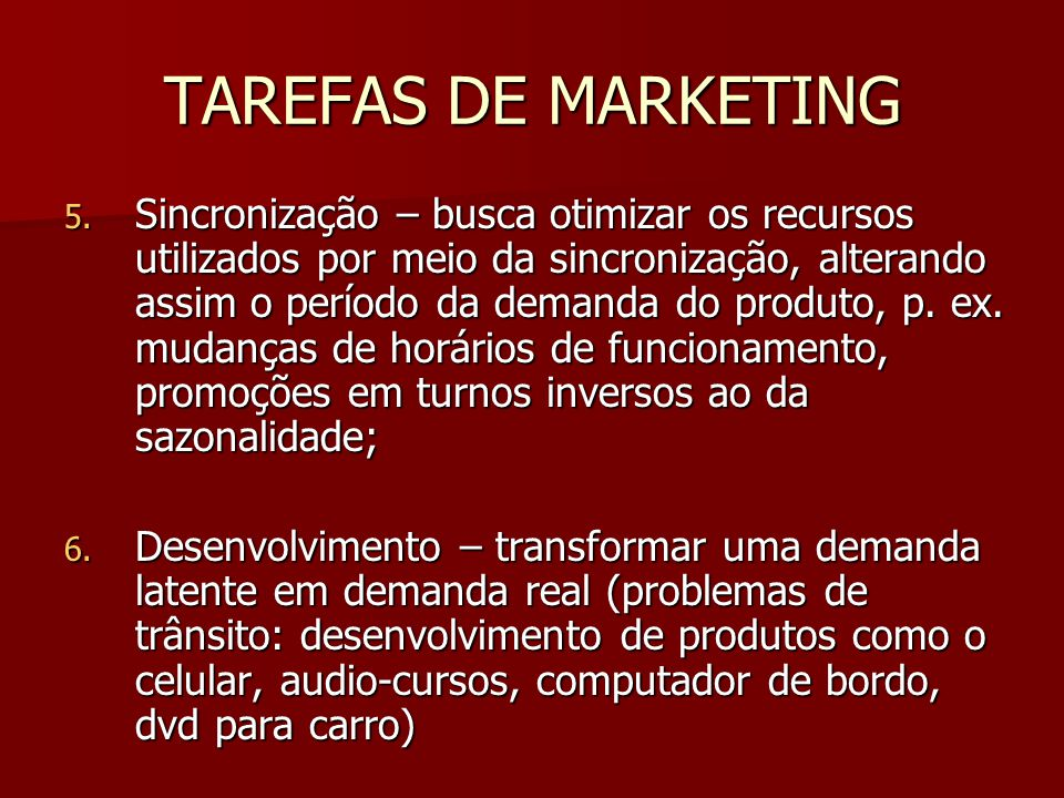 TAREFAS DE MARKETING