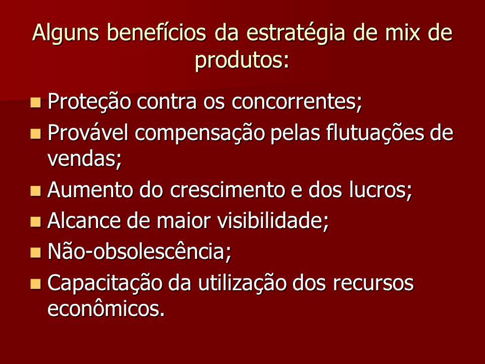 Alguns benefícios da estratégia de mix de produtos: