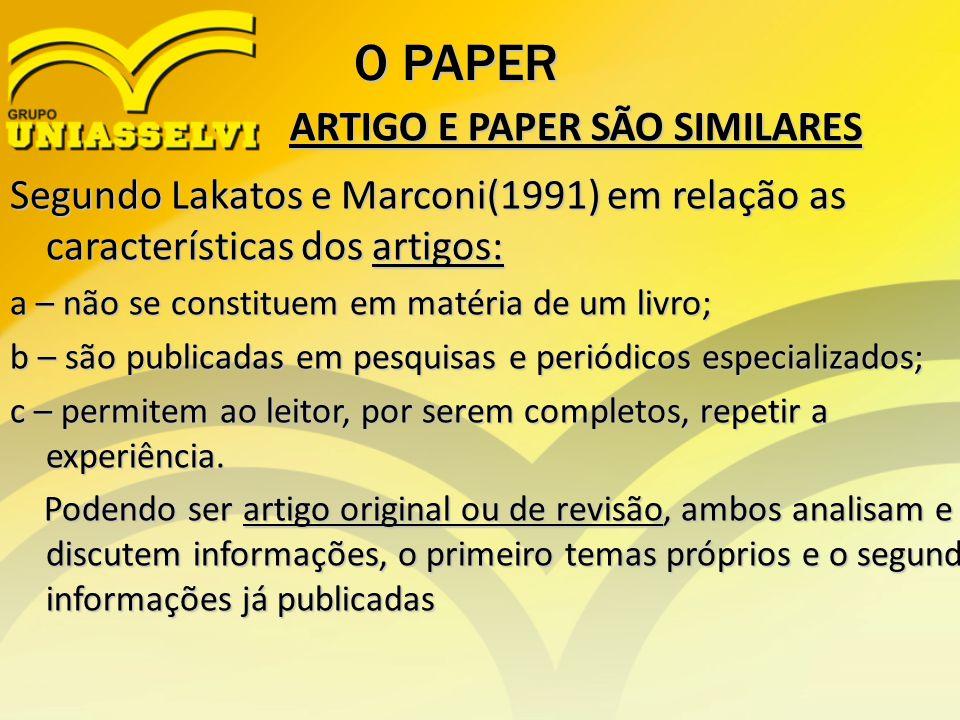 ARTIGO E PAPER SÃO SIMILARES