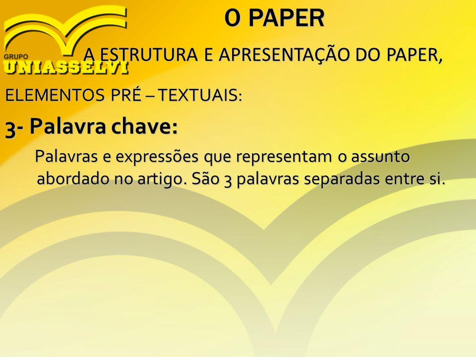 O PAPER 3- Palavra chave: A ESTRUTURA E APRESENTAÇÃO DO PAPER,