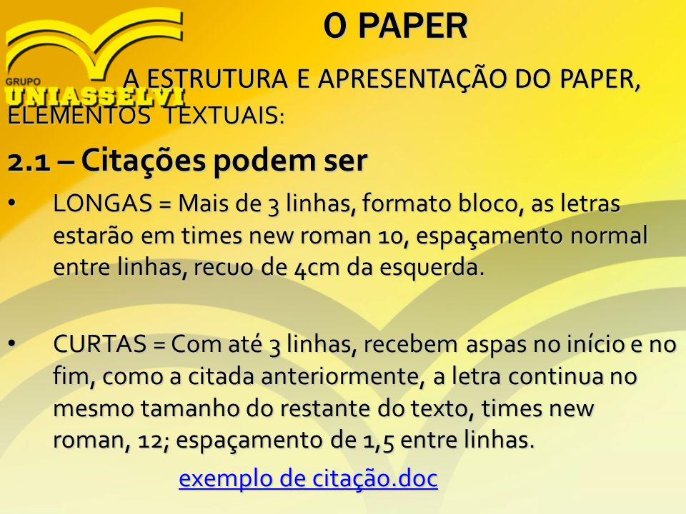 O PAPER 2.1 – Citações podem ser A ESTRUTURA E APRESENTAÇÃO DO PAPER,