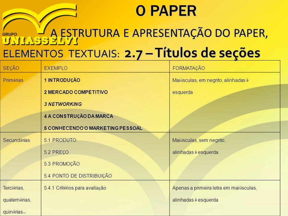 O PAPER A ESTRUTURA E APRESENTAÇÃO DO PAPER,