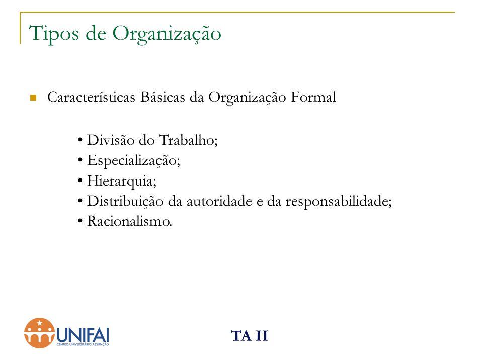 Tipos de Organização Características Básicas da Organização Formal