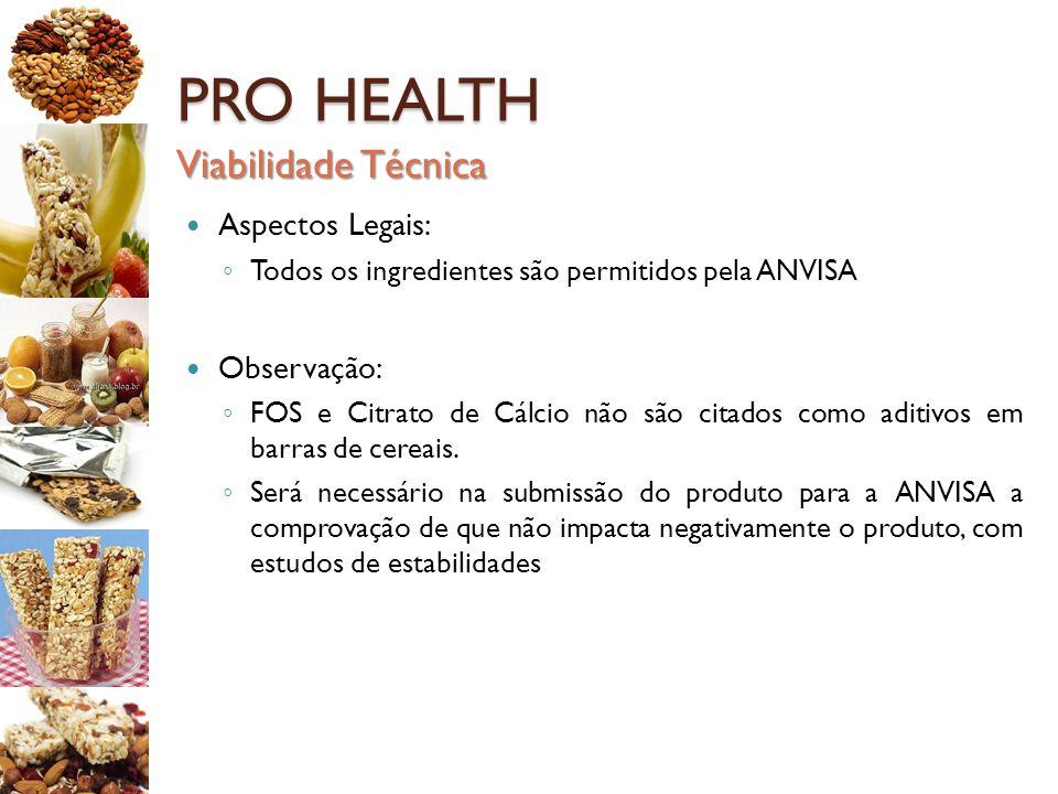 PRO HEALTH Viabilidade Técnica Aspectos Legais: Observação: