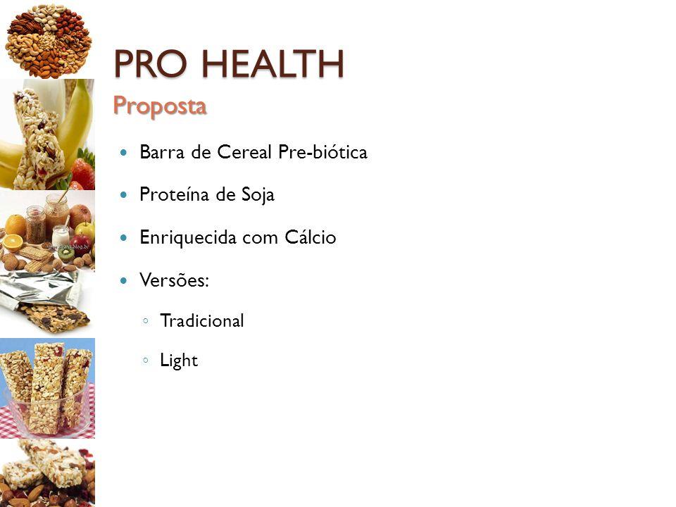 PRO HEALTH Proposta Barra de Cereal Pre-biótica Proteína de Soja