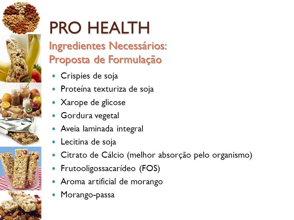 PRO HEALTH Ingredientes Necessários: Proposta de Formulação