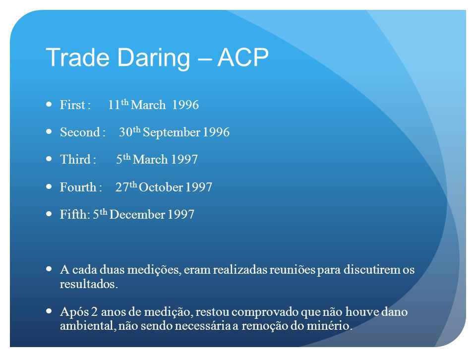Trade Daring – ACP First : 11th March 1996