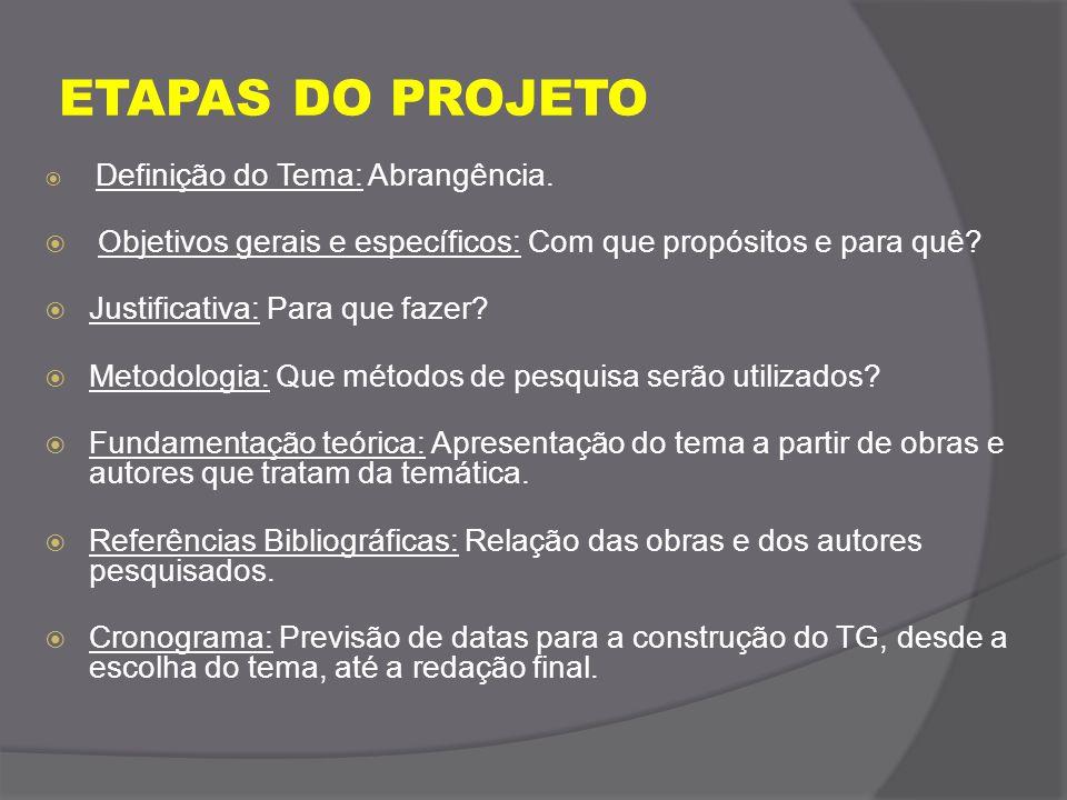 ETAPAS DO PROJETO Definição do Tema: Abrangência. Objetivos gerais e específicos: Com que propósitos e para quê