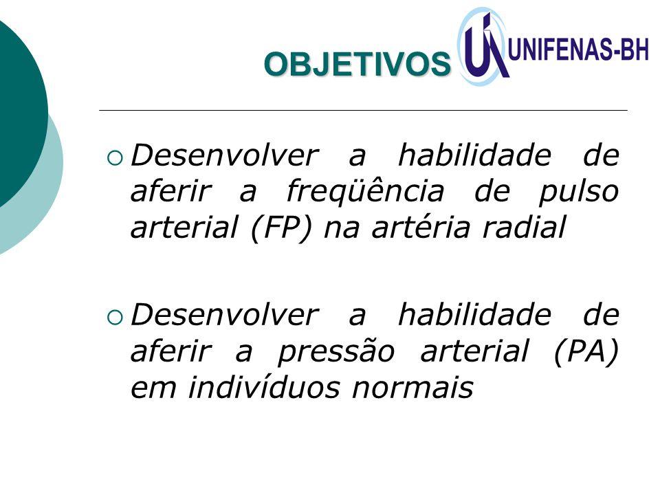 OBJETIVOS: Desenvolver a habilidade de aferir a freqüência de pulso arterial (FP) na artéria radial.