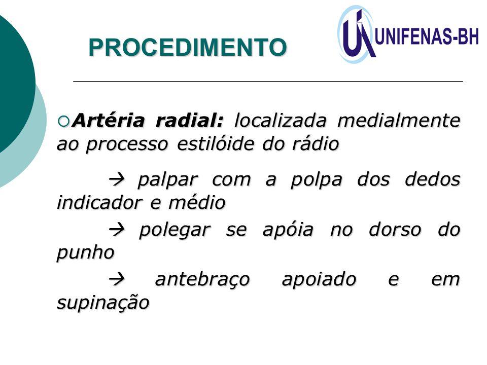 PROCEDIMENTO Artéria radial: localizada medialmente ao processo estilóide do rádio.  palpar com a polpa dos dedos indicador e médio.