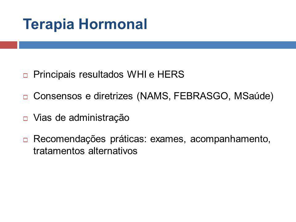 Terapia Hormonal Principais resultados WHI e HERS