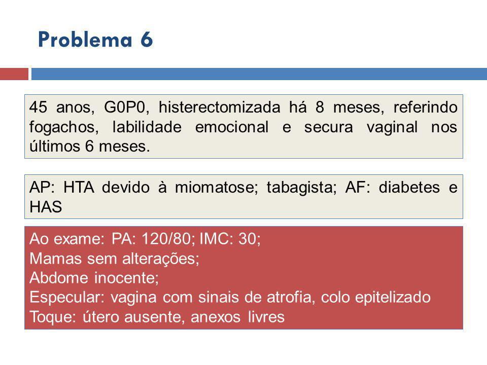 Problema 6 45 anos, G0P0, histerectomizada há 8 meses, referindo fogachos, labilidade emocional e secura vaginal nos últimos 6 meses.