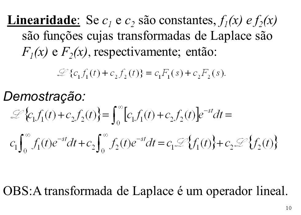 Linearidade: Se c1 e c2 são constantes, f1(x) e f2(x) são funções cujas transformadas de Laplace são F1(x) e F2(x), respectivamente; então: