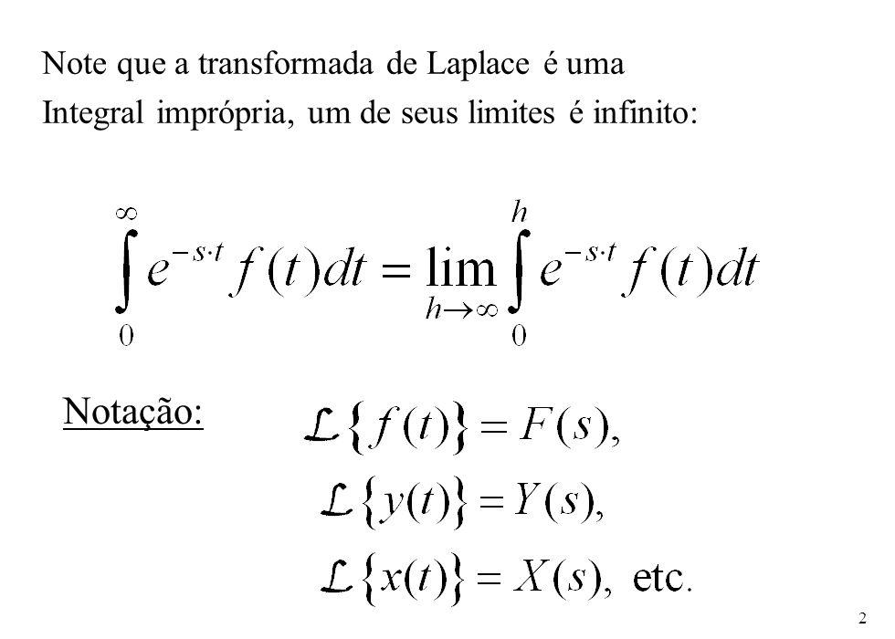 Notação: Note que a transformada de Laplace é uma