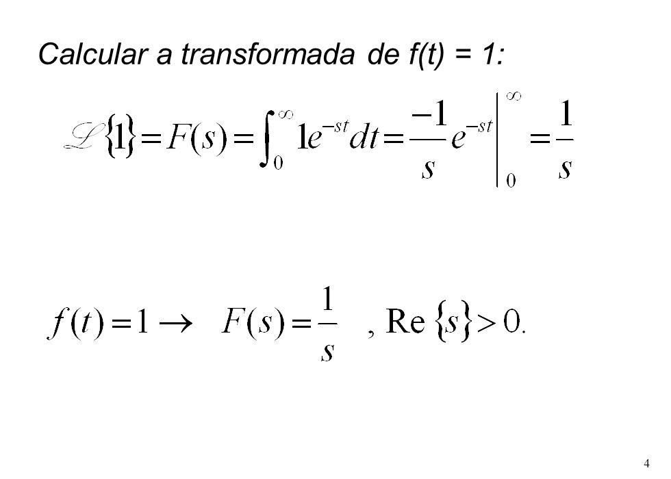 Calcular a transformada de f(t) = 1: