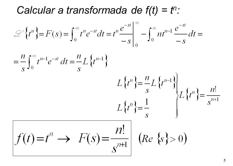 Calcular a transformada de f(t) = tn: