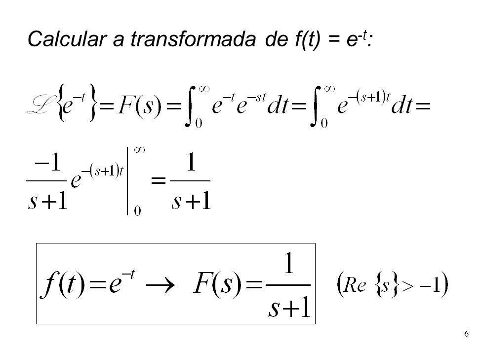 Calcular a transformada de f(t) = e-t: