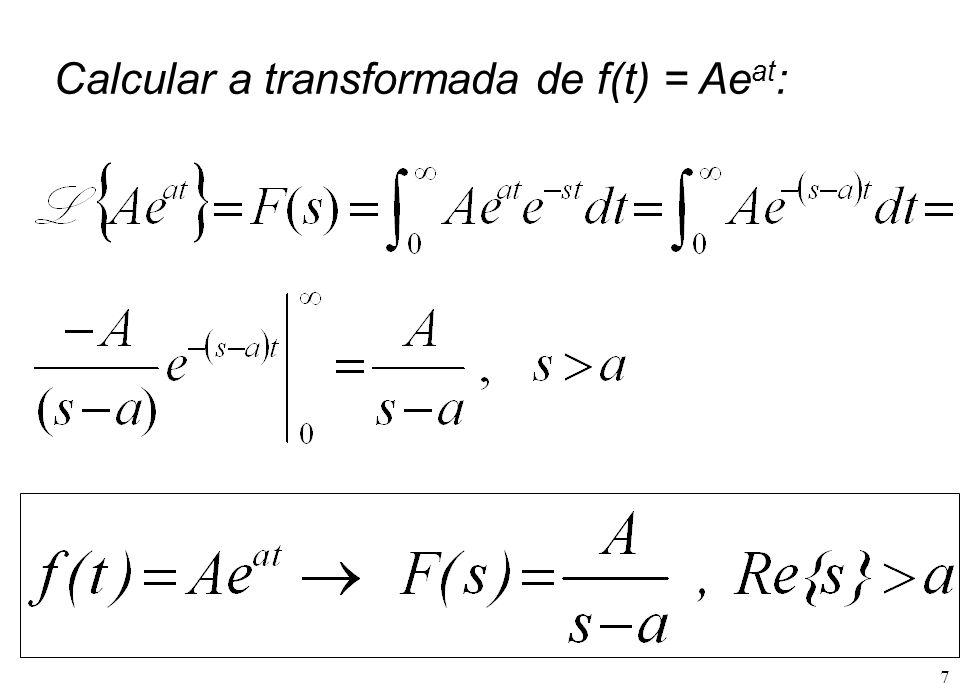 Calcular a transformada de f(t) = Aeat: