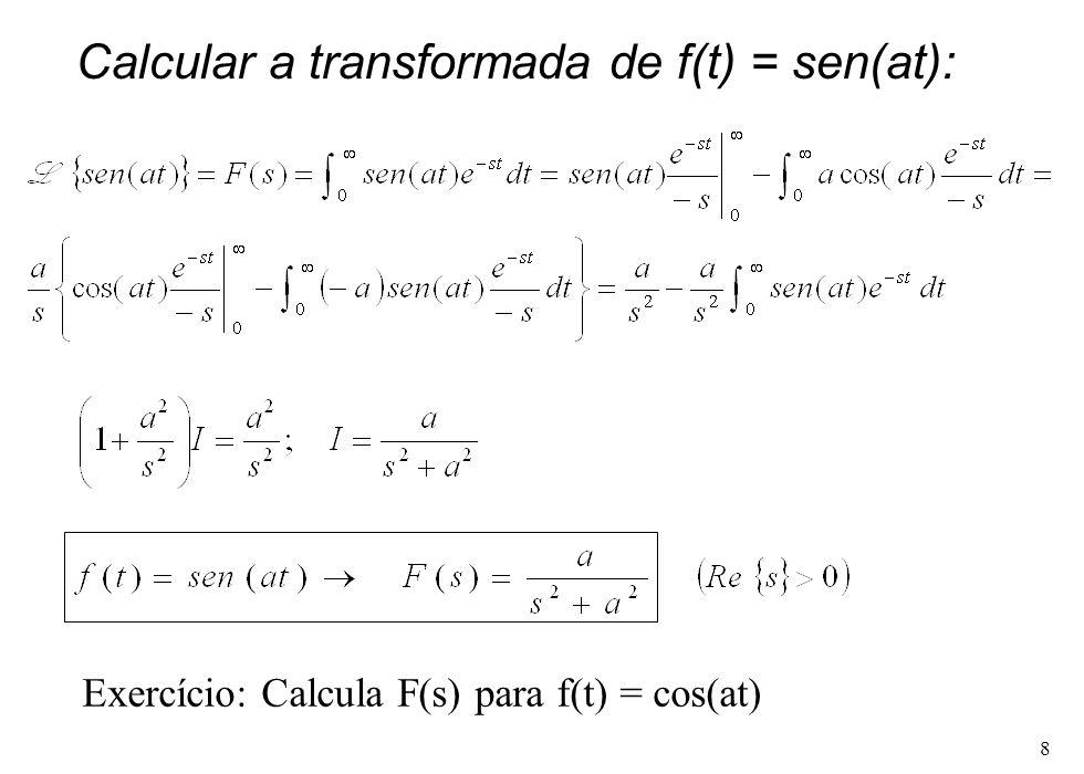 Calcular a transformada de f(t) = sen(at):
