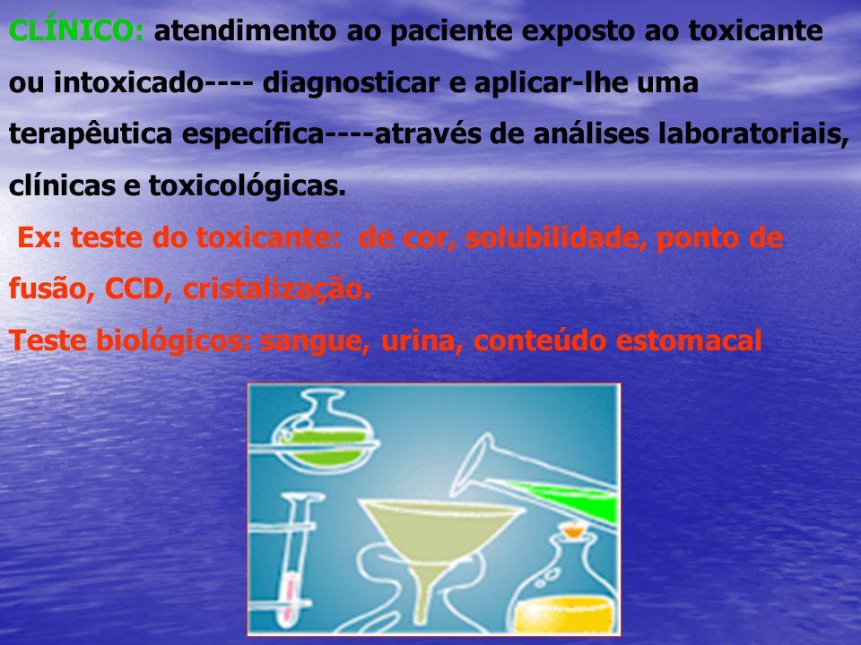CLÍNICO: atendimento ao paciente exposto ao toxicante ou intoxicado---- diagnosticar e aplicar-lhe uma terapêutica específica----através de análises laboratoriais, clínicas e toxicológicas.