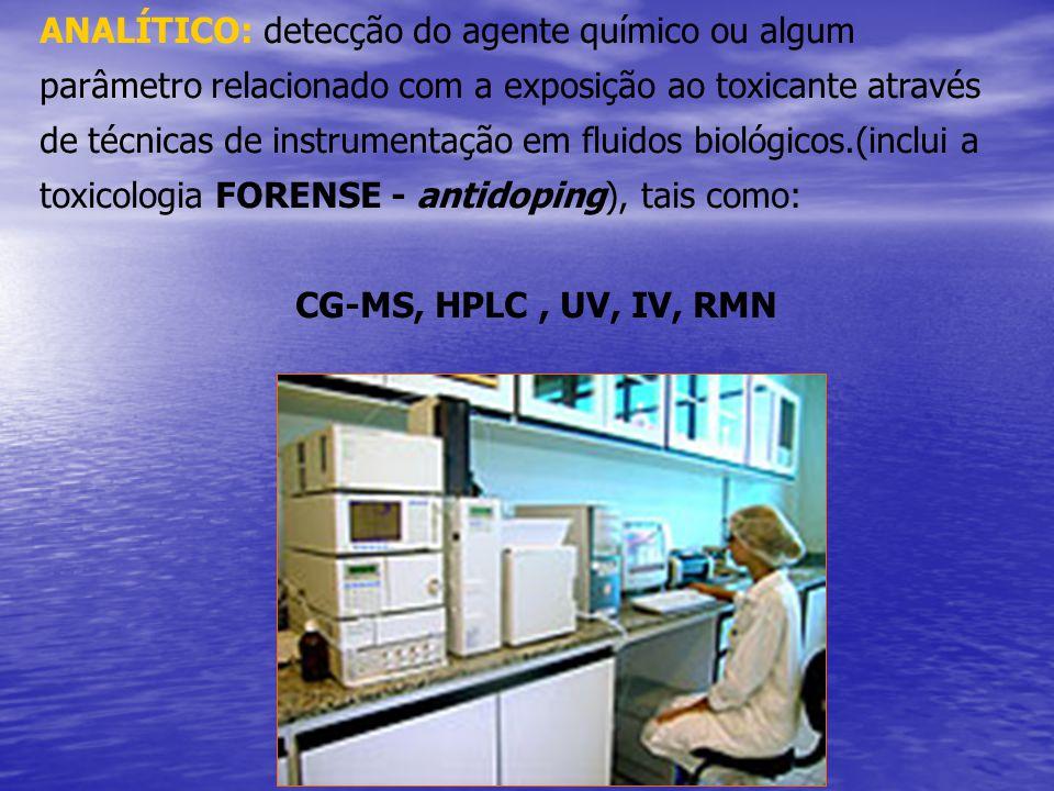 ANALÍTICO: detecção do agente químico ou algum parâmetro relacionado com a exposição ao toxicante através de técnicas de instrumentação em fluidos biológicos.(inclui a toxicologia FORENSE - antidoping), tais como: