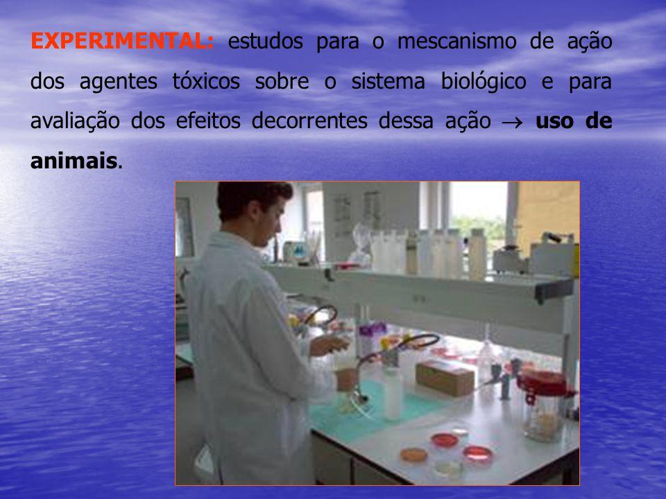 EXPERIMENTAL: estudos para o mescanismo de ação dos agentes tóxicos sobre o sistema biológico e para avaliação dos efeitos decorrentes dessa ação  uso de animais.