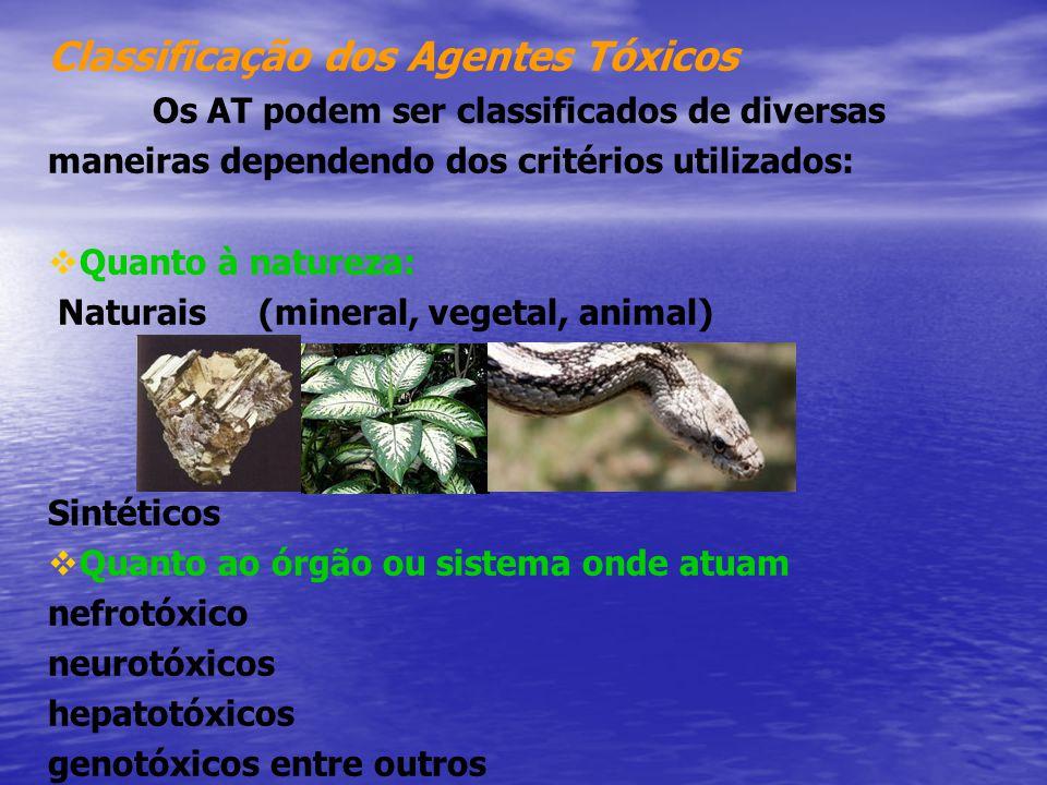 Classificação dos Agentes Tóxicos