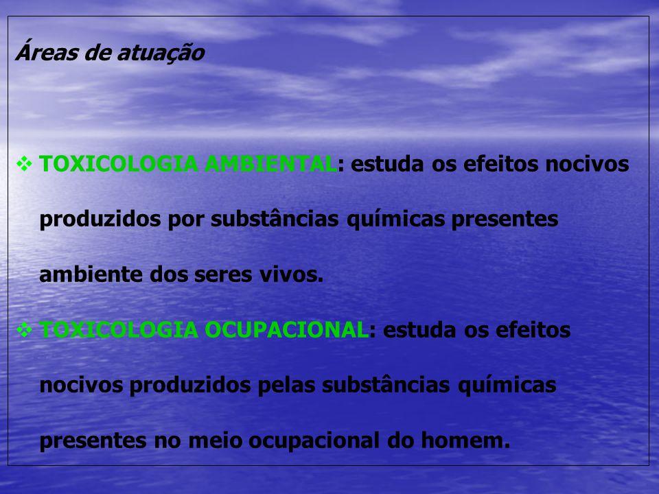 Áreas de atuação TOXICOLOGIA AMBIENTAL: estuda os efeitos nocivos produzidos por substâncias químicas presentes ambiente dos seres vivos.