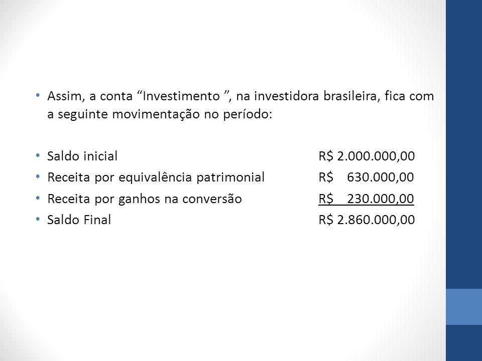 Assim, a conta Investimento , na investidora brasileira, fica com a seguinte movimentação no período: