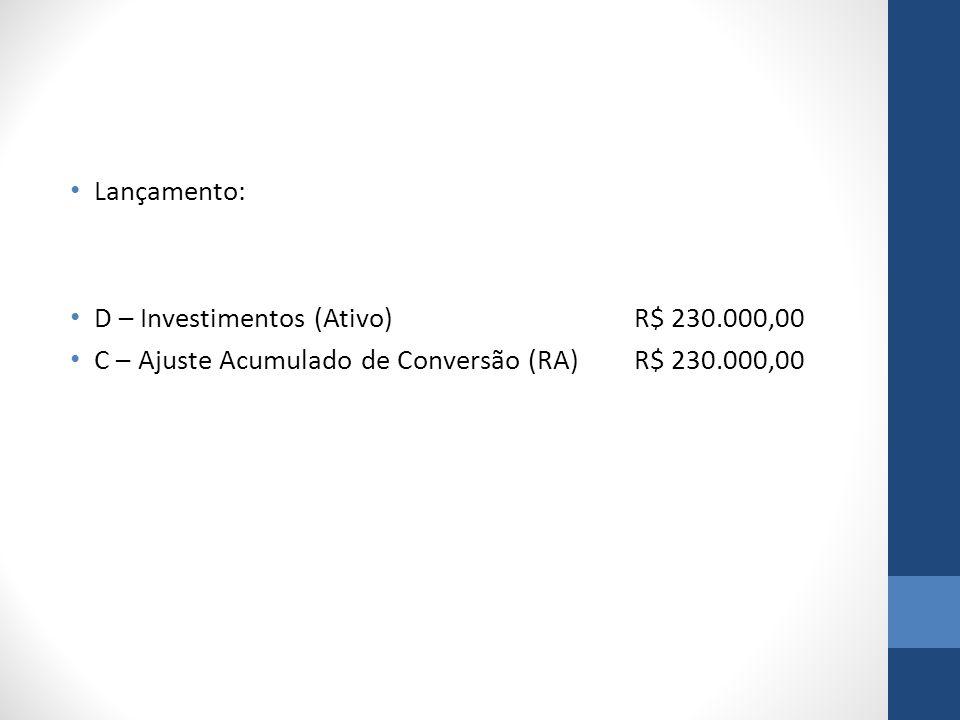 Lançamento: D – Investimentos (Ativo) R$ 230.000,00.