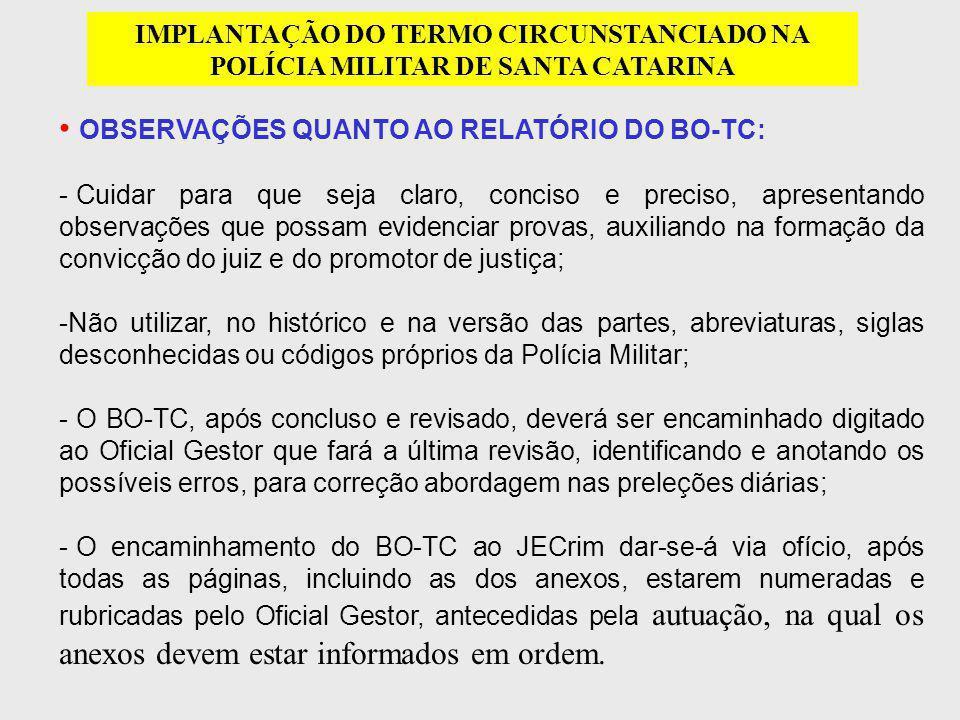 OBSERVAÇÕES QUANTO AO RELATÓRIO DO BO-TC: