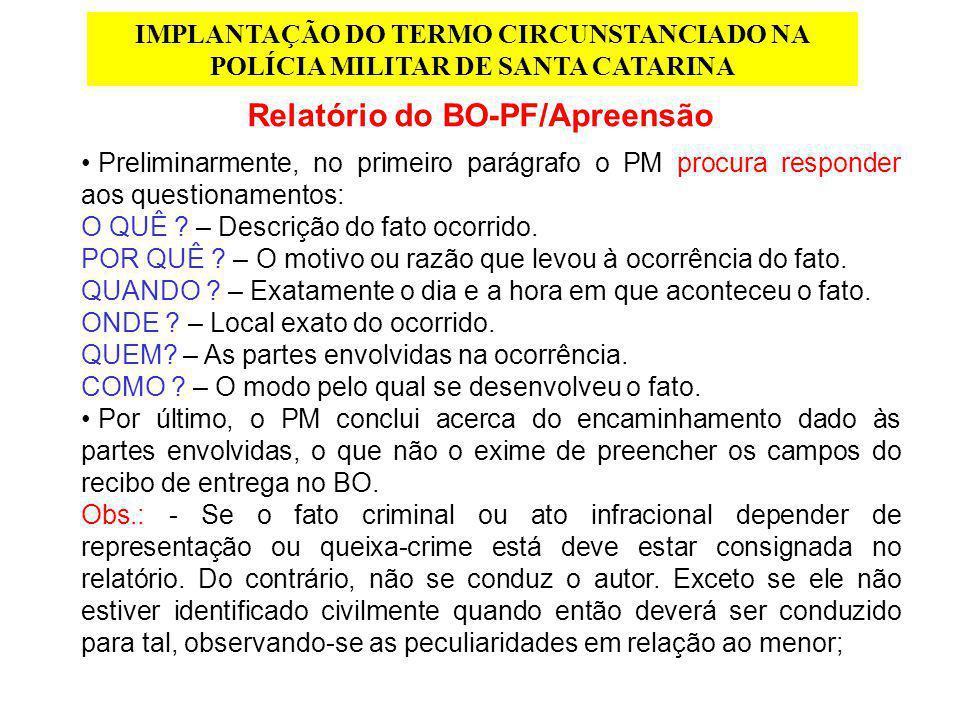Relatório do BO-PF/Apreensão