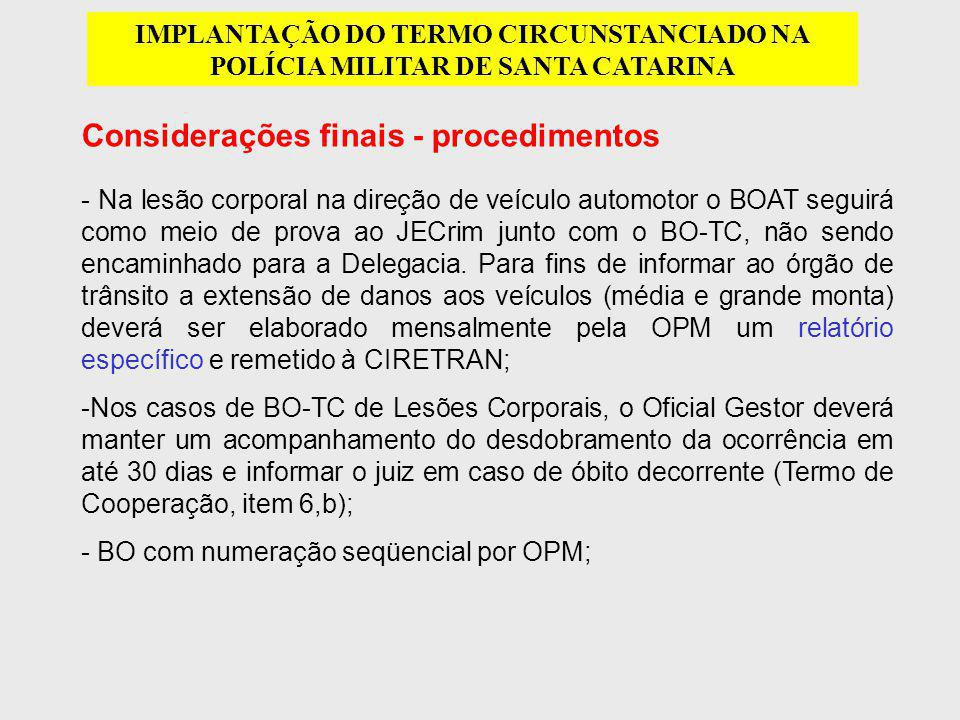 Considerações finais - procedimentos